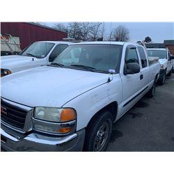 2003 GMC SIERRA 15, PU, WHITE, VIN # 1GTEC19V03Z134752
