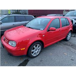2007 VOLKSWAGEN GOLF, 4DR HATCHBACK, RED, VIN # 9BWEL41JX74000348