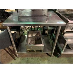 """STAINLESS STEEL 2 TIER 36""""X30"""" EQUIPMENT TABLE WITH CLASSIC FOOD WARMER"""