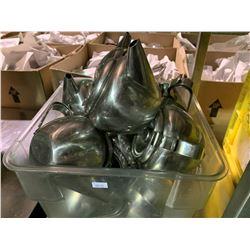 3 CRATES OF ASSORTED RESTAURANT DINNERWARE, 3 ROLLS PAPER TOWEL & ASSORTED METAL TEA POTS