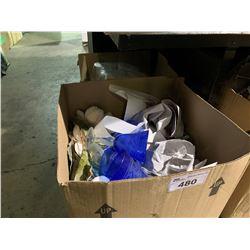 2 BOXES OF RESTAURANT GLASSWARE & TISSUE PAPER