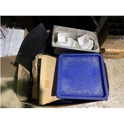 BOX OF ASSORTED RESTAURANT DINNERWARE & CONTAINERS