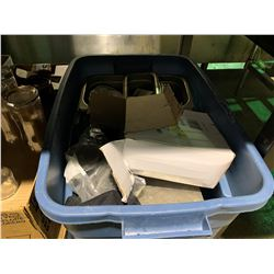 TOTE OF ASSORTED STAINLESS STEEL INSERTS & MISCELLANEOUS