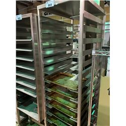 STAINLESS STEEL 14 TIER MOBILE BAKERS RACK WITH TRAYS