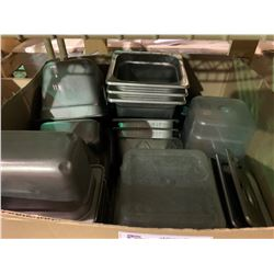BOX OF ASSORTED STAINLESS STEEL & PLASTIC STORAGE CONTAINERS