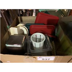 BOX OF ASSORTED COOLING RACKS & CONDIMENT TRAYS WITH LIDS