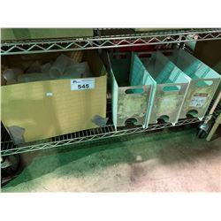 SHELF LOT OF CREAM STORAGE UNITS & BOX OF PLASTIC CONDIMENT BOTTLES