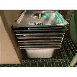 LOT OF LARGE STAINLESS STEEL INSERT TRAYS