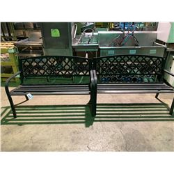 2 CAST ALUMINUM OUTDOOR PATIO BENCHES