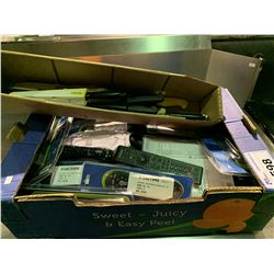 BOX OF ASSORTED KNIVES & BOX OF ASSORTED UNIVERSAL REMOTES