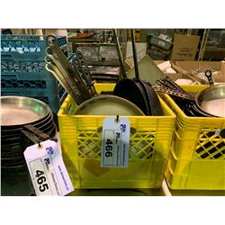 CRATE OF ASSORTED FRY PANS