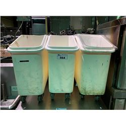 3 MOBILE PLASTIC STORAGE BINS