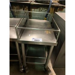 """24"""" X 15"""" 2 TIER STAINLESS MOBILE UTILITY CART"""