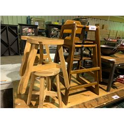 2 WOODEN BABY HIGH CHAIRS AND 4 STOOLS