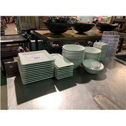 WHITE RESTAURANT GRADE DINNERWARE AND PLASTIC BEVERAGE CUPS
