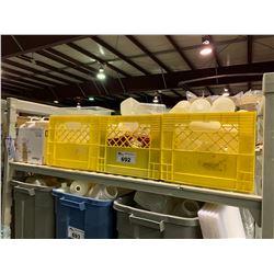 SHELF LOT OF PLASTIC CONDIMENT TRAYS & PLASTIC BOTTLES AND PITCHERS