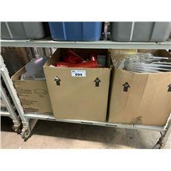 SHELF LOT OF PLASTIC BOTTLES &PLASTIC CONDIMENT TRAYS & LIDS AND PITCHERS