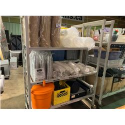 4 SHELVES OF DISPOSABLE CUPS & SALAD SPINNER AND CASH DRAWER