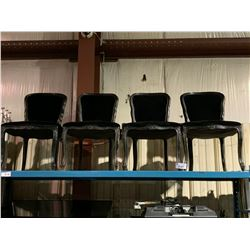 4 BLACK ORNATE DINING CHAIRS
