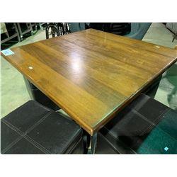 "WOOD & METAL 32"" X 32"" RESTAURANT GRADE TABLE"