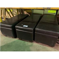 "3 LEATHER STORAGE OTTOMANS 48"" X 18"""