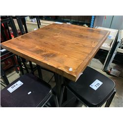 "WOOD AND METAL 27"" X  24"" RESTAURANT GRADE TABLE"