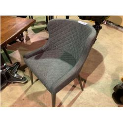 GREY TUFTED CLOTH CHAIR WITH WOOD LEGS