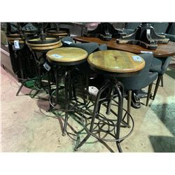 OAK  AND METAL  SCREW TOP BARSTOOL