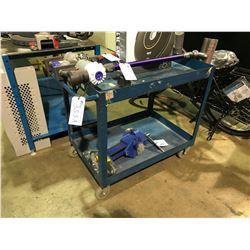 BLUE METAL 2 TEIR MOBILE SHOP CART