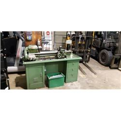 SOUTH BEND PRECISION LATHE MODEL CL 8344AD BEND LENGTH 4. WITH TOOL ACCESSORIES AND WORK CABINET