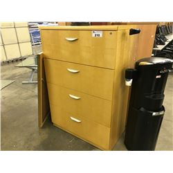 LIGHT MAPLE 4 DRAWER LATERAL FILE CABINET
