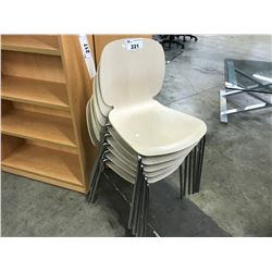 STACK OF 6 LIGHT MAPLE LUNCH ROOM CHAIRS