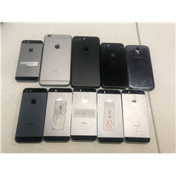 LOT OF 9 ASSORTED IPHONES AND 1 SAMSUNG GALAXY S4, ALL ICLOUD/PASSCODE UNLOCKED, PLEASE PREVIEW FOR
