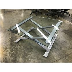 GLASS TOP 4' X 4' METAL FRAME COFFEE TABLE