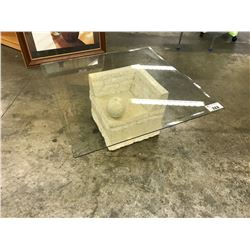 "30"" X 30"" STONE BASE GLASS TOP COFFEE TABLE"