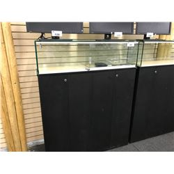 5' RAISED LOCKING GLASS DISPLAY CASE WITH BOTTOM CABINET