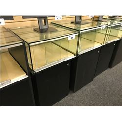 2' SQUARE LOCKING GLASS DISPLAY CASE WITH BOTTOM CABINET