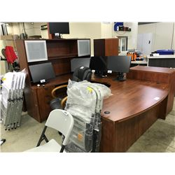DARK MAPLE 9' X 6' U-SHAPE EXECUTIVE DESK C/W HUTCH