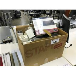 LOT OF MISC. STATIONERY AND 1 NETWORK SWITCH