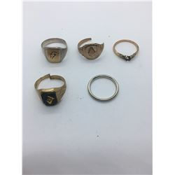 5 GOLD RINGS (3 GOLD CONTENT ONLY)