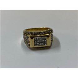 14K YELLOW GOLD MENS DIAMOND DRESS RING 2.6 KARATS RV 7950.00