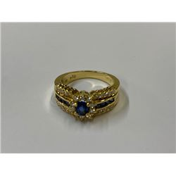 18KT YELLOW GOLD NATURAL SAPPHIRE AND DIAMOND LADIES RING