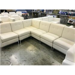 WHITE SIX SEAT SECTIONAL LEATHER RECEPTION SOFA SET
