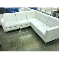 WHITE FIVE SEAT SECTIONAL LEATHER RECEPTION SOFA SET