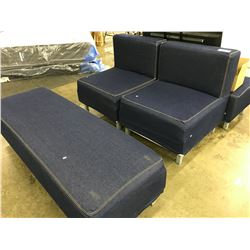 2 BLUE DENIM LOUNGE CHAIRS WITH MATCHING OTTOMANS