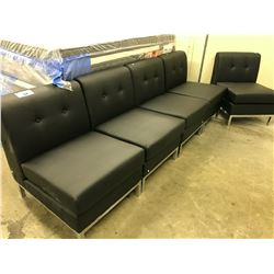 FIVE PIECE BLACK RECEPTION SEATING SET
