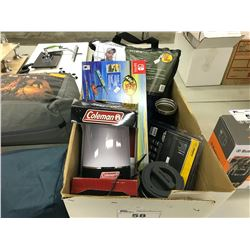 LOT OF MISC. CAMPING SUPPLIES INC. COLEMAN LANTERN AND INFLATABLE PFD