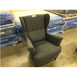 DARK GREY WING BACK LOUNGE CHAIR