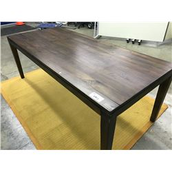 DARK MAPLE SOLID WOOD 8' DINING TABLE WITH YELLOW AREA RUG