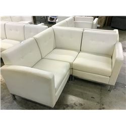 WHITE TWO SEAT CORNER SECTIONAL LEATHER RECEPTION SOFA SET